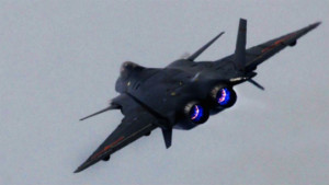 Shenyang J-20 performing at an airshow in China. Note the blue tinge to the afterburner reminiscent of the SU-27's AL-31 engine which the J-20's engines are based off of.