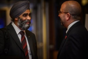 Canadian Defence Minister Harjitt Sajjan (left) and Peter Van Praagh, president of the Halifax International Security Forum