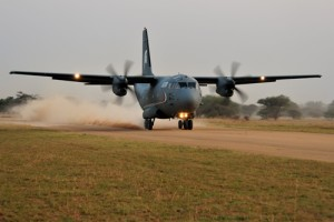 The C-27J on unpaved air strip