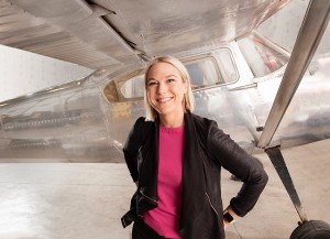 Nicole Verkindt with a plane