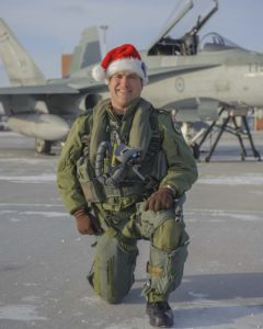 Lieutenant-Colonel William Radiff, commanding officer of 409 Tactical Fighter Squadron at 4 Wing Cold Lake, Alberta, is one of the pilots that will escort Santa over North America in 2016. PHOTO: Corporal Sophie Renau