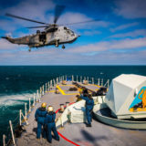 HMCS Ville de Québec and CH-148 Cyclone deploy on Operation REASSURANCE